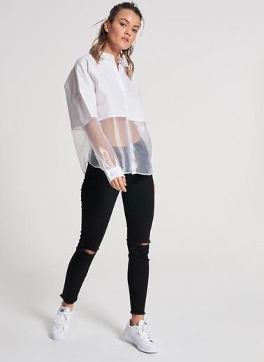 Pi π Organze Detaylı Gömlek Beyaz